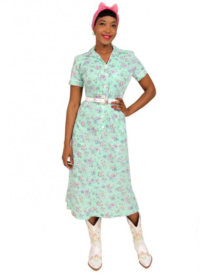 40s-1940s-Vivien-of-Holloway-Best-Vintage-Reproduction-Teadress-Tea-Day-Dress-Floral-Green-Utility-Rockabilly-Pinup