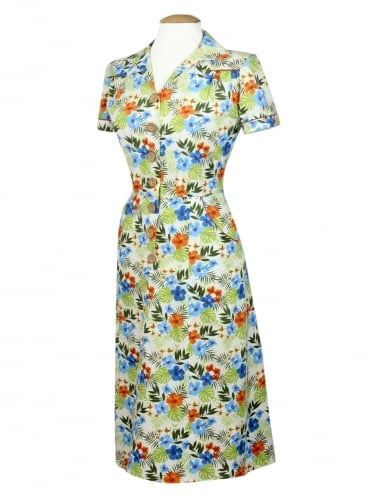 40s-1940s-Vivien-of-Holloway-Best-Vintage-Reproduction-Teadress-Tea-Day-Hibiscus-Blue-Orange-Utility-Rockabilly-Pinup