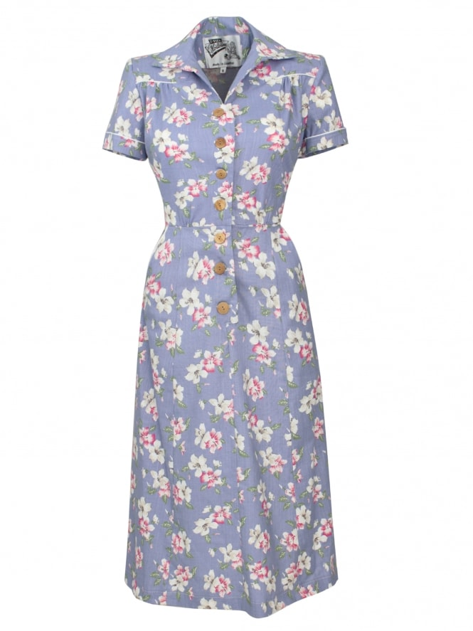1940s Style Tea Dress Hibiscus Duo Blue