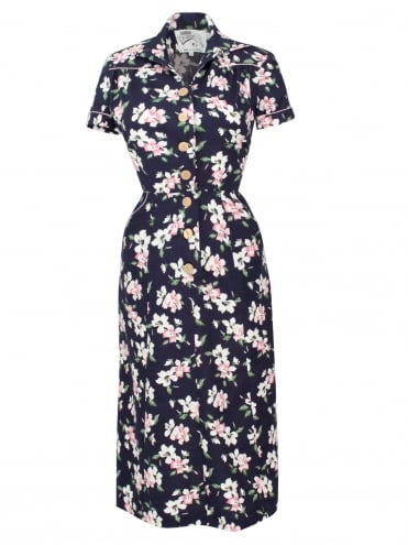 40s-1940s-Vivien-of-Holloway-Best-Vintage-Reproduction-Teadress-Tea-Day-Dress-Hibiscus-Duo-Navy-Rockabilly-Pinup