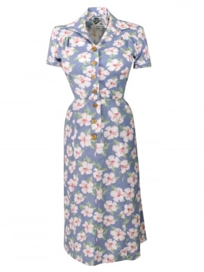 1940s Style Tea Dress Large Hibiscus Blue