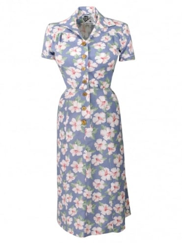 40s-1940s-Vivien-of-Holloway-Best-Vintage-Reproduction-Teadress-Tea-Day-Dress-Hibiscus-Large-Blue-Rockabilly-Pinup