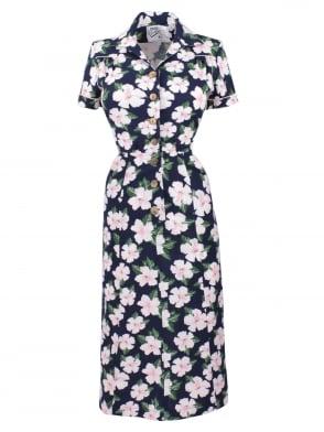 1940s Style Tea Dress Large Hibiscus Navy
