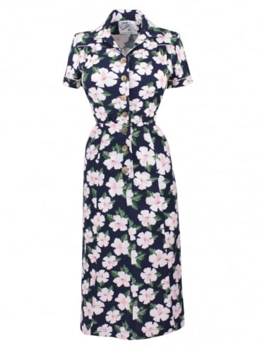 1940s Style Tea Dress Large Hibiscus Navy