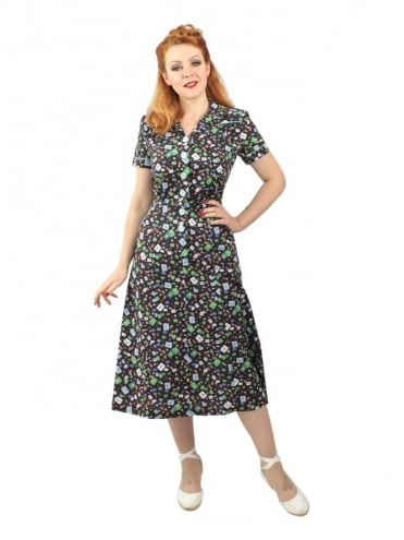 40s-1940s-Vivien-of-Holloway-Best-Vintage-Reproduction-Teadress-Tea-Day-Dress-Letters-Brown-Utility-Rockabilly-Pinup