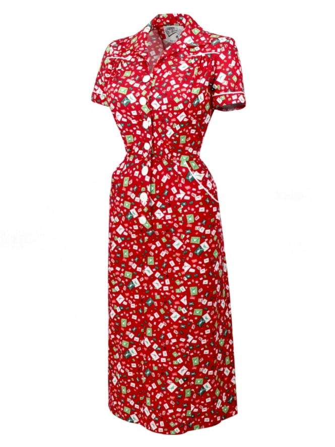 40s-1940s-Vivien-of-Holloway-Best-Vintage-Reproduction-Teadress-Tea-Day-Dress-Letters-Red-Utility-Rockabilly-Pinup