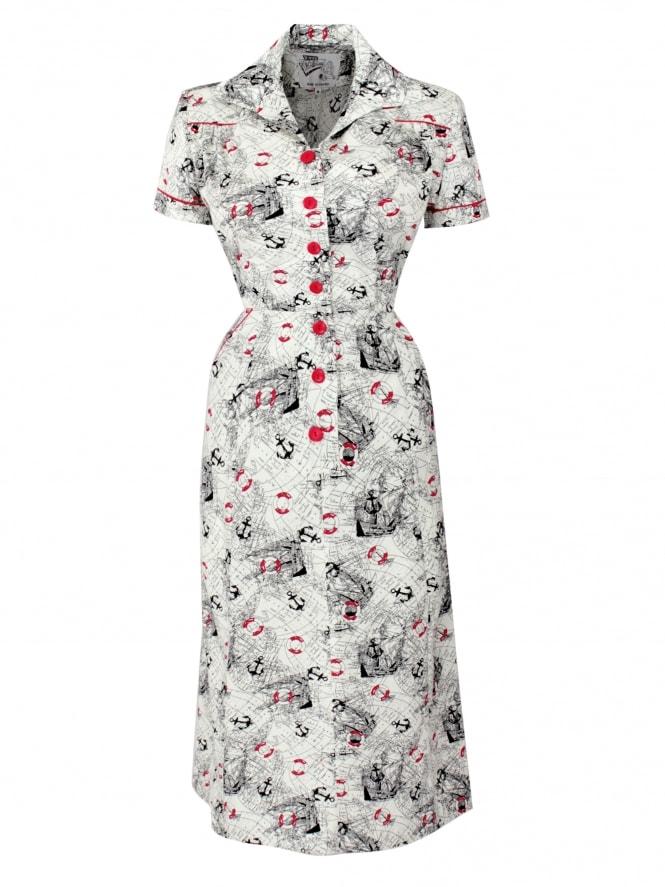 1940s Style Tea Dress Map White