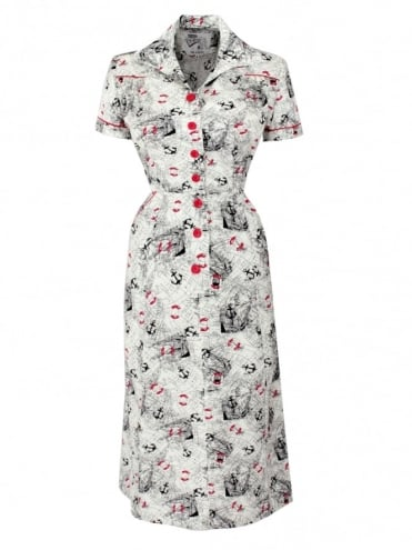 1940s Style Tea Dress Map White