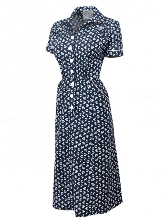 1940s Style Tea Dress Nautical Navy