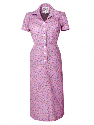 1940s Style Tea Dress Pansy Lilac