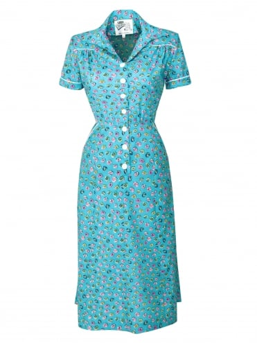 1940s Style Tea Dress Pansy Turquoise