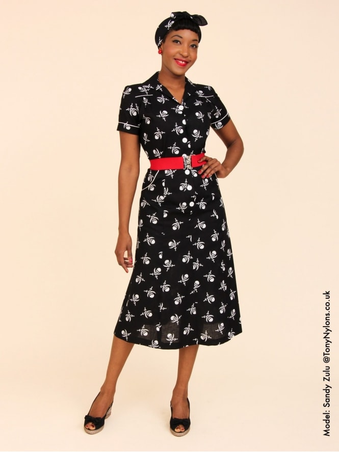 40s-1940s-Vivien-of-Holloway-Best-Vintage-Reproduction-Teadress-Tea-Day-Dress-Black-White-Pirate-Halloween-Utility-Rockabilly-Pinup