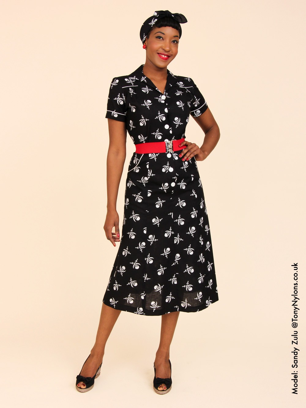 1940s Fashion: 1940s Style Tea Dress Pirate From Vivien Of Holloway