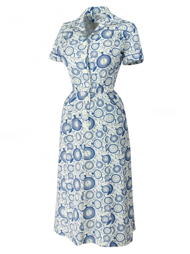 40s-1940s-Vivien-of-Holloway-Best-Vintage-Reproduction-Teadress-Tea-Day-Dress-Pocket-Watch-Rockabilly-Pinup