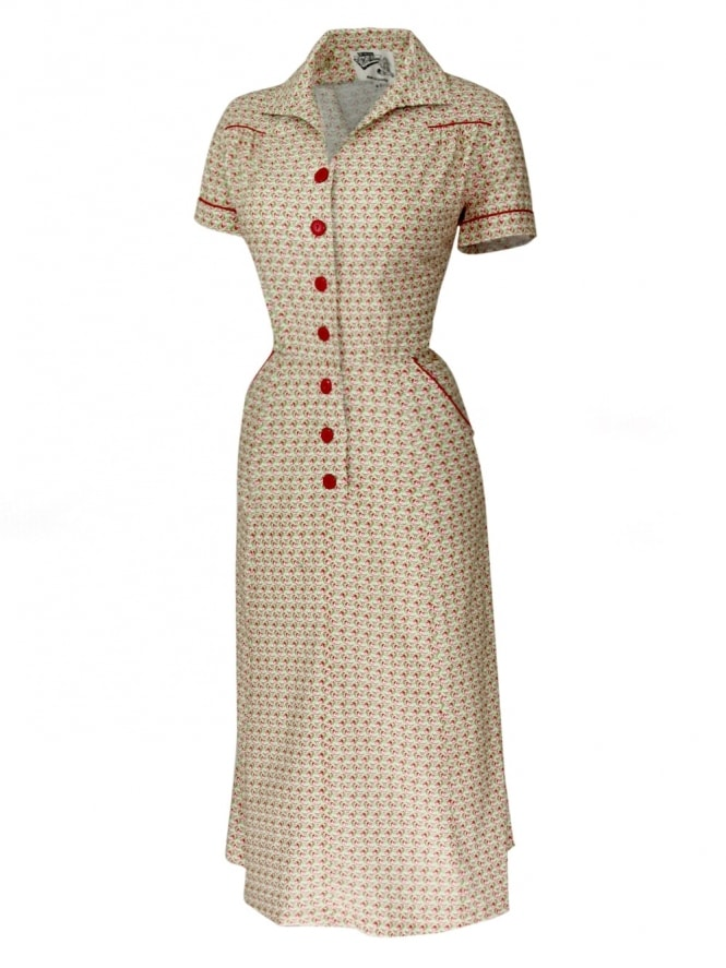 1940s Style Tea Dress Regal Red Green