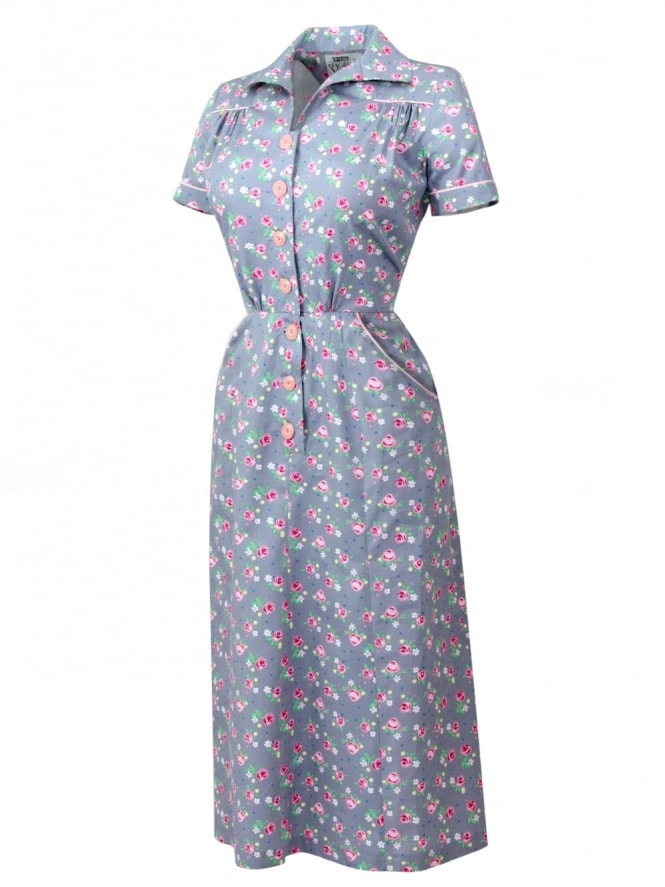 40s-1940s-Vivien-of-Holloway-Best-Vintage-Reproduction-Teadress-Tea-Day-Dress-Rose-Grey-Rockabilly-Pinup