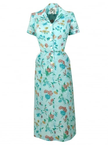 1940s Style Tea Dress Seersucker Blue Floral