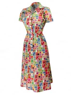 1940s Style Tea Dress Stamp Caramel