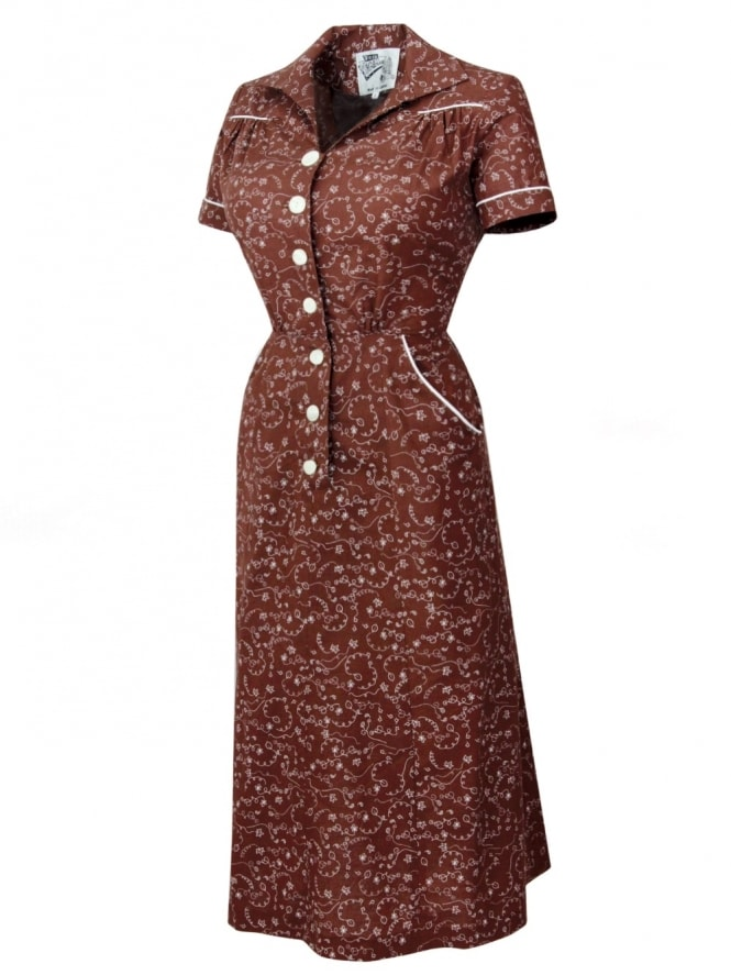 40s-1940s-Vivien-of-Holloway-Best-Vintage-Reproduction-Teadress-Tea-Day-Windy-Brown-Rockabilly-Pinup