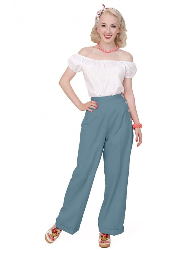 40s-1940s-Vivien-of-Holloway-Best-Vintage-Reproduction-Swing-Trousers-Airforce-Blue-Soft-Rockabilly-Swing-Pinup