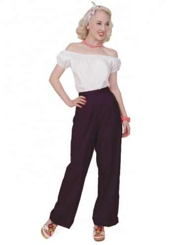 1940s Swing Trousers Aubergine