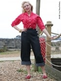 1940s Swing Trousers Black Denim