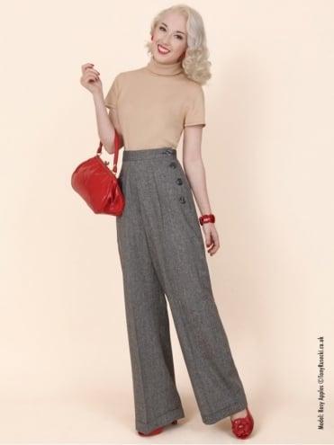 1940s Swing Trousers Black Donegal Fleck