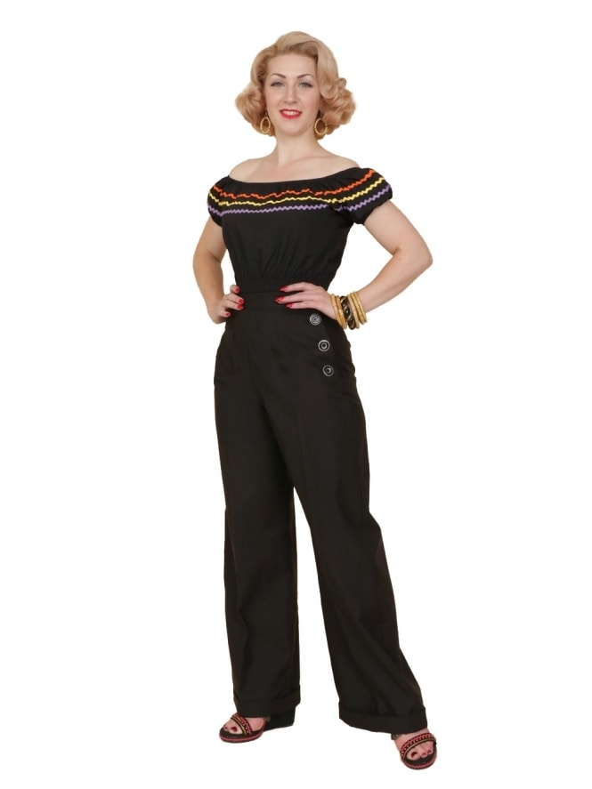 40s-1940s-Vivien-of-Holloway-Best-Vintage-Reproduction-Swing-Trousers-Black-Drill-Rockabilly-Swing-Pinup