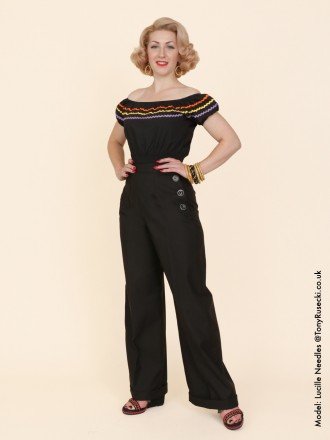 1940s Swing Trousers Black Drill