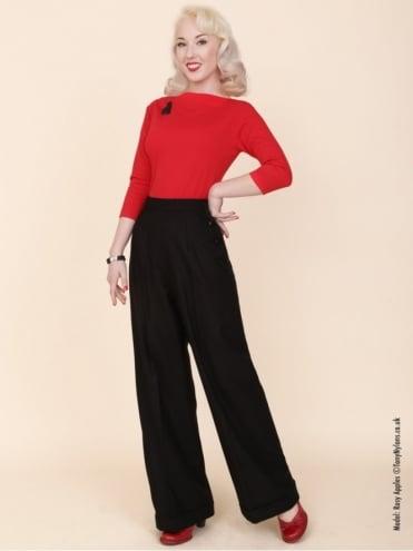 1940s Swing Trousers Black Flannel