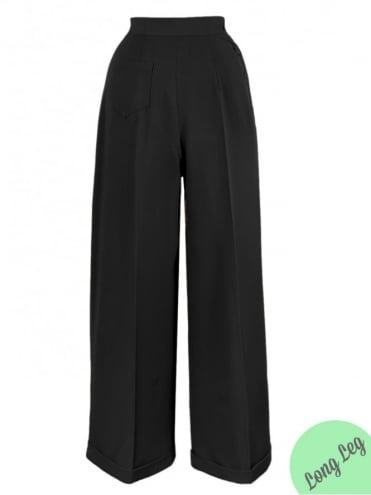 1940s Swing Trousers Black Long Leg