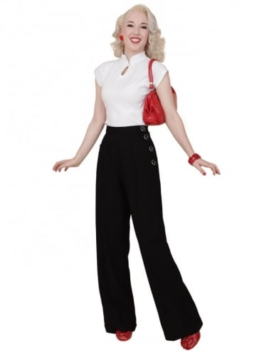 1940s Swing Trousers Black Soft
