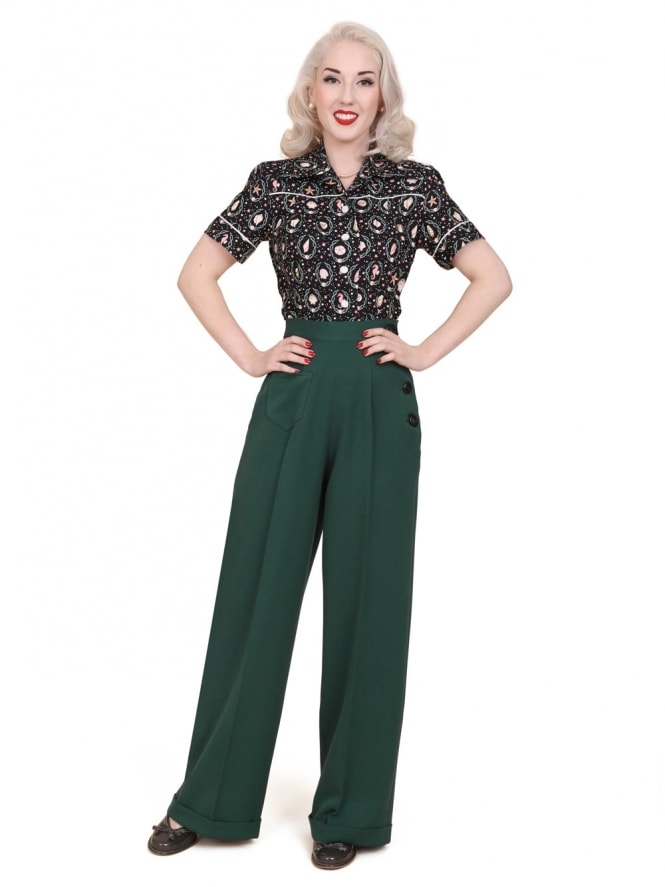 40s-1940s-Vivien-of-Holloway-Best-Vintage-Reproduction-Swing-Trousers-Bottle-Green-Rockabilly-Swing-Pinup