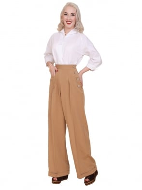 1940s Swing Trousers Caramel Soft