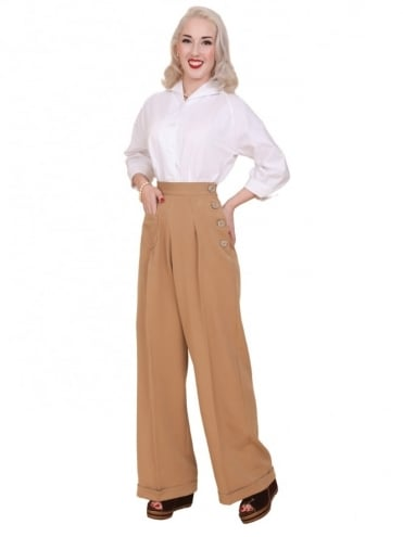 40s-1940s-Vivien-of-Holloway-Best-Vintage-Reproduction-Swing-Trousers-Caramel-Brown-Rockabilly-Swing-Pinup