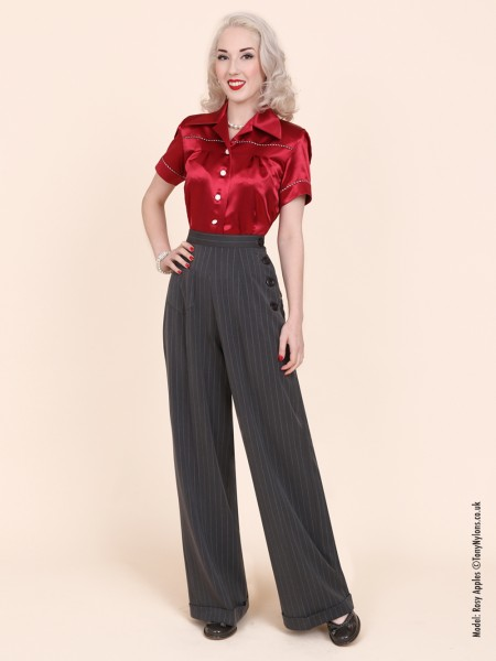 5e58211fe66 1940s Swing Trousers Charcoal Pinstripe From Vivien Of Holloway