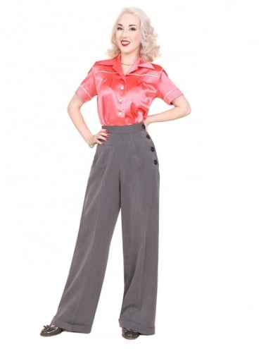 1940s Swing Trousers Charcoal Soft