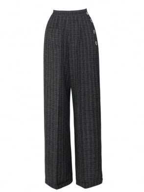 1940s Swing Trousers Check Black