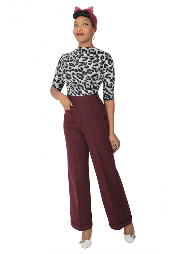 1940s Swing Trousers Cherry