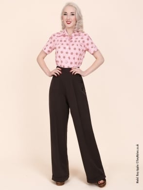1940s Swing Trousers Chocolate