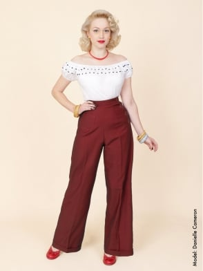 1940s Swing Trousers Claret