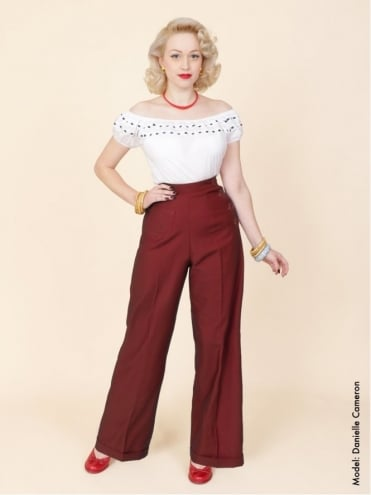 1940s Swing Trousers Claret
