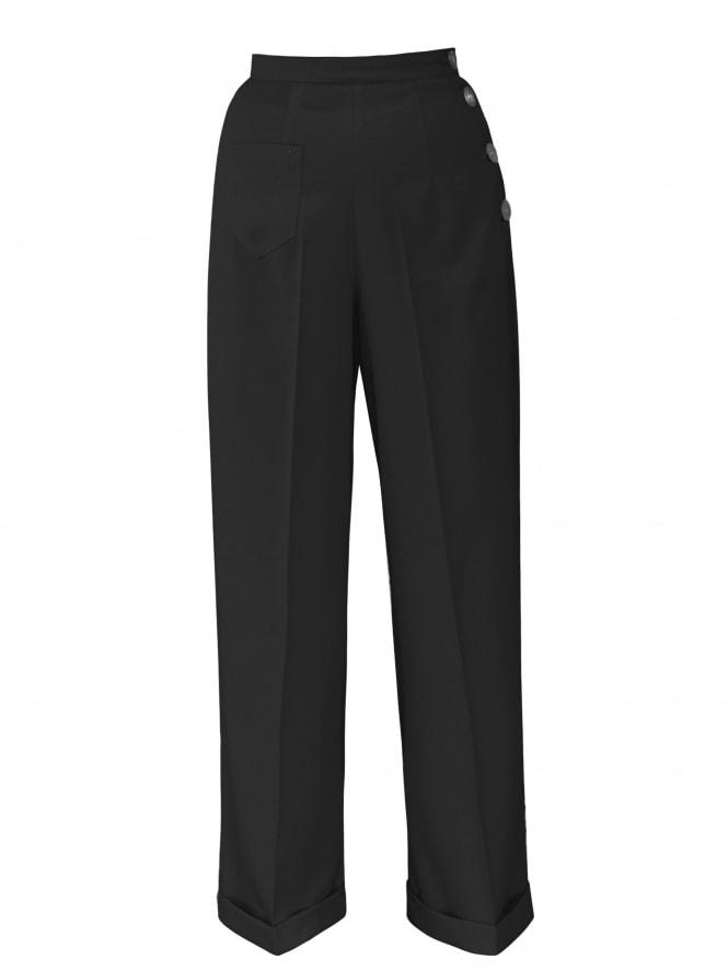 1940s Swing Trousers Crepe Black