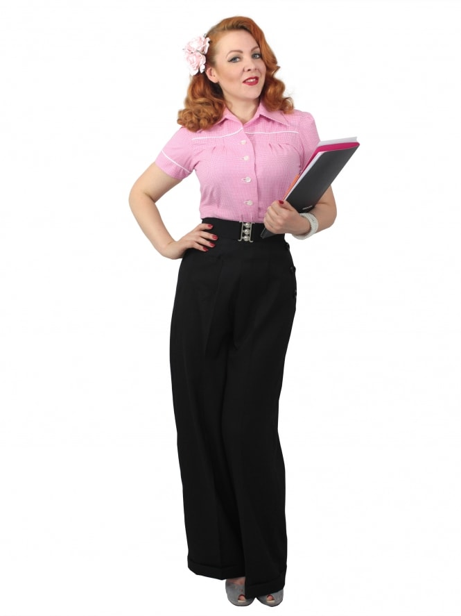 1940s Swing Trousers Crepe Black