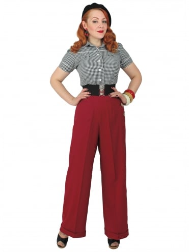1940s Swing Trousers Crepe Burgundy