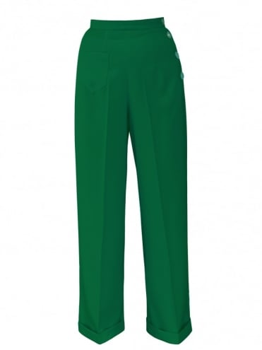 1940s Swing Trousers Crepe Emerald
