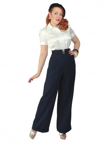 1940s Swing Trousers Crepe Navy