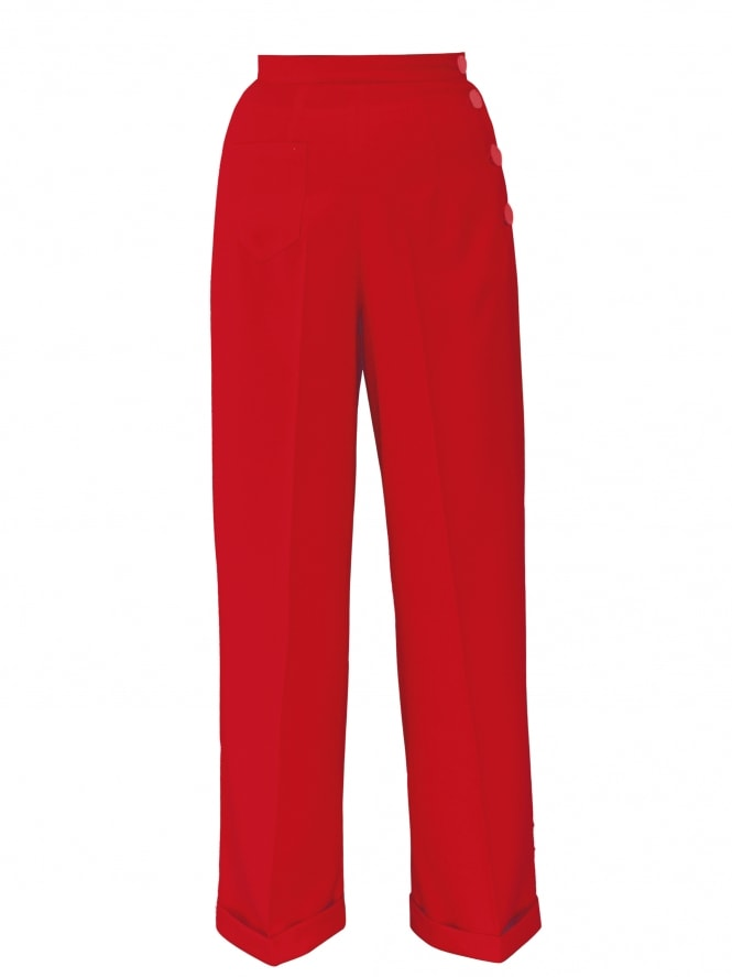 1940s Swing Trousers Crepe Scarlet
