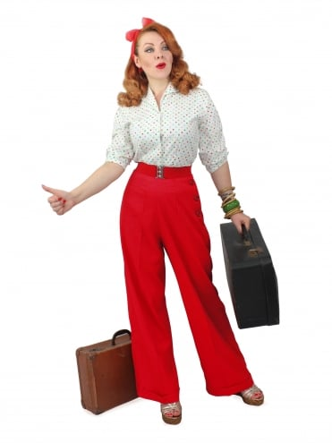 1940s Swing Trousers Crepe Scarlet