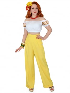 1940s Swing Trousers Crepe Sunflower